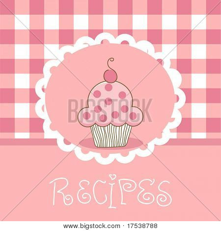 plaid recipe template with cupcake
