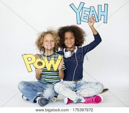 Boy and Girl Holding POW YEAH Illustration