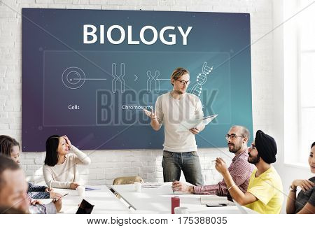 People learning biology about cells and DNA