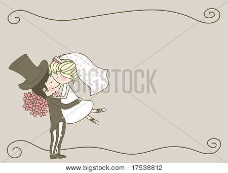 wedding set - bride and groom hugging