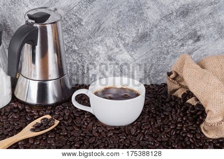 Hot Coffee In Cup With Geyser Coffee Maker