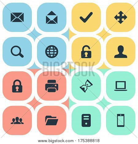 Vector Illustration Set Of Simple Practice Icons. Elements Open Padlock, Community, Check And Other Synonyms Cellphone, Search And Timer.