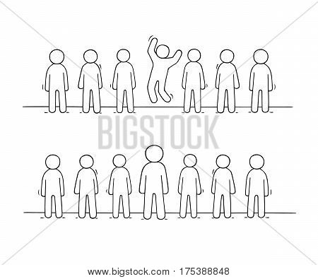 Cartoon working little people stand in a row. Doodle cute miniature scene of workers about individuality. Hand drawn vector illustration for business design.