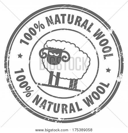 Abstract grunge rubber stamp with small sheep and the words 100 Natural Wool written inside
