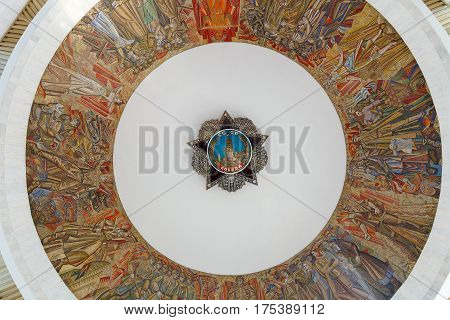 Kiev Ukraine - May 09 2015: Ceiling painting in the building of the Museum of Ukraine in the Second World War