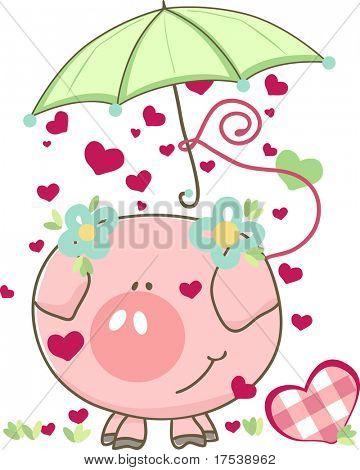 pig with umbrella