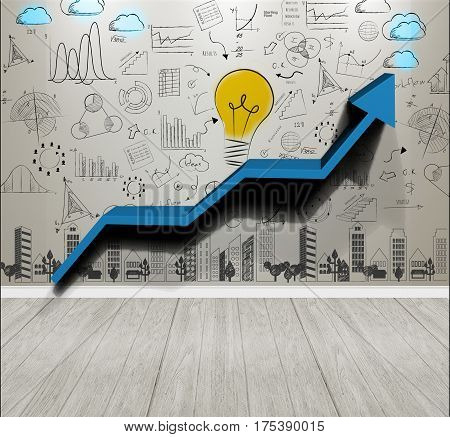 Business wall background concept for new ideas with innovation and creativity.