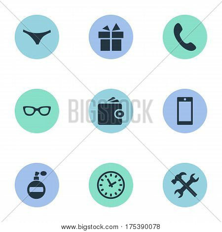 Vector Illustration Set Of Simple Accessories Icons. Elements Underwear, Present, Mobile Phone And Other Synonyms Billfold, Mobile And Panties.