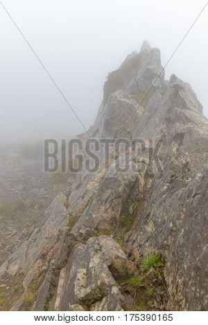 Mountain in the fog in the cloud of the island of Madeira Portugal.