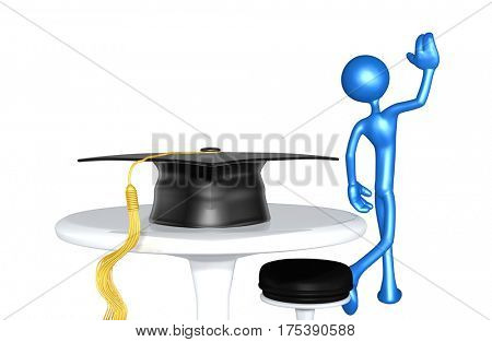 The Original 3D Character Illustration Walking Away From A Mortar Board