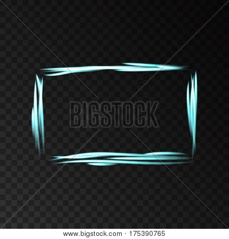 Blue neon frame with lights effects isolated on black transparent background. Shining magic rectangle with laser beams . Vector banner.