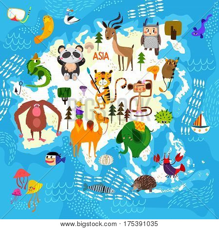 Cartoon World Map With Traditional Animals. Illustrated Map Of Asia.vector Illustration For Children