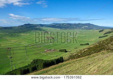 Top view of farm fields valley in the Terceira island in Azores, wide angle