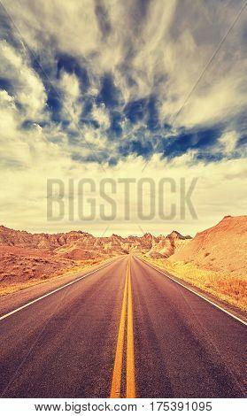 Vintage Toned Scenic Desert Highway, Travel Concept, Usa