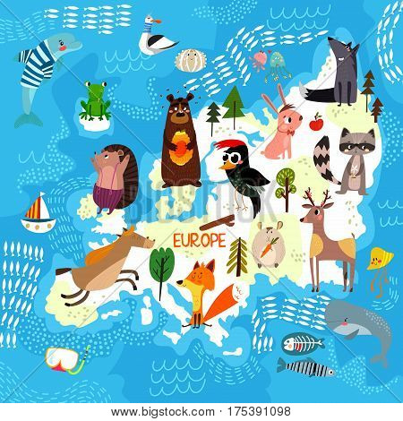 Cartoon World Map With Traditional Animals. Illustrated Map Of Europe.vector Illustration For Childr
