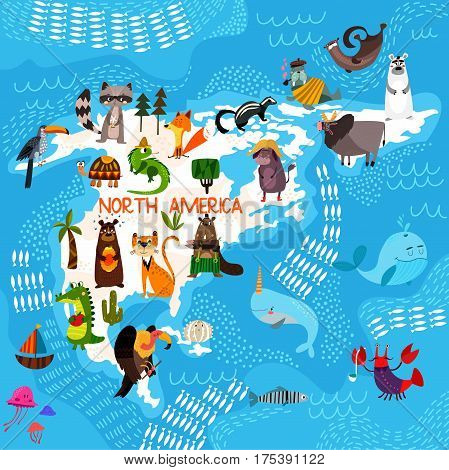 Cartoon World Map With Traditional Animals. Illustrated Map Of North America.vector Illustration For