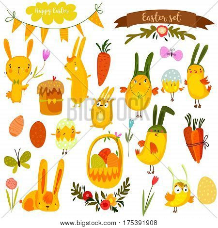Happy Easter Vector Set In Vector.cute Chickens, Bunnies  And Eggs In Yellow Colors.- Stock Vector