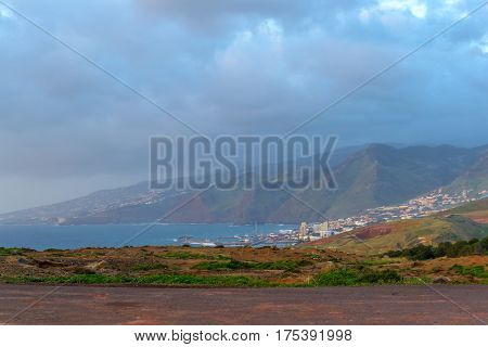 A city on the coast of Madeira at dawn. Portugal.