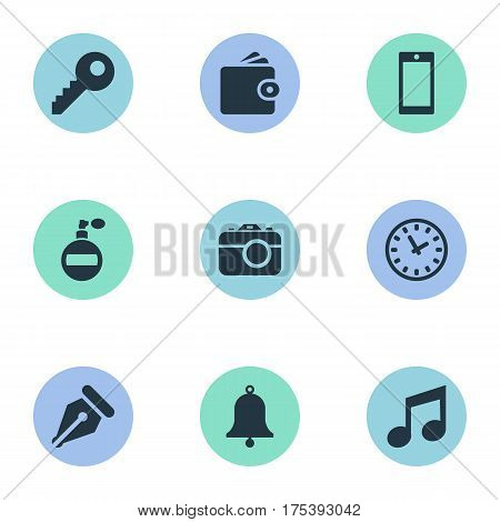 Vector Illustration Set Of Simple Accessories Icons. Elements Ring, Fragrance, Music And Other Synonyms Bell, Photographing And Fragrance.