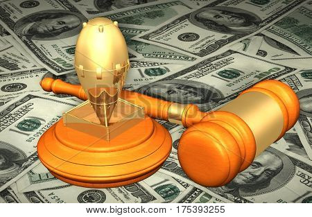 Bomb Legal Gavel Concept 3D Illustration