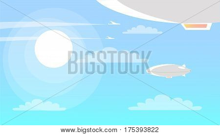 Airships flying in blue clear sky with clouds and brightly shining sun. Lighter-than-air aircraft that can navigate through air under its own power vector illustration with white dirigible balloons