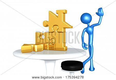 The Original 3D Character Illustration Walking Away From A Home Puzzle