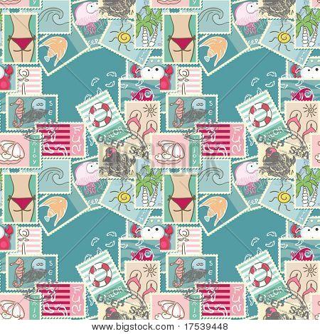 seamless summer postage pattern