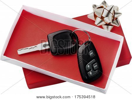 Car Key in a Red Gift Box - Isolated