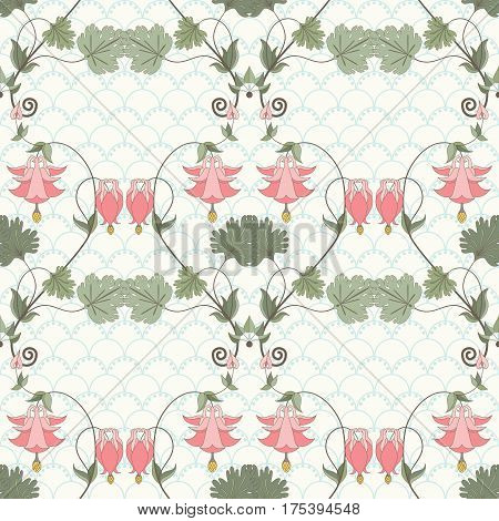 Seamless vector background. Vintage floral pattern in modern style on a simple background. Aquilegia plants contain flowers buds and leaves. Pink and green.