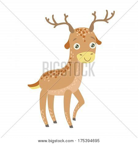 Spotted Reindeer Cute Toy Animal With Detailed Elements Part Of Fauna Collection Of Childish Vector Stickers. Adorable Girly Friendly Zoo Cartoon Character Flat Vector Illustration.