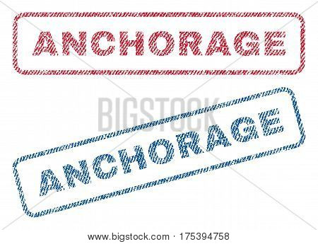 Anchorage text textile seal stamp watermarks. Blue, red fabric vectorized texture. Vector caption inside rounded rectangular banner. Rubber emblem with fiber textile structure.