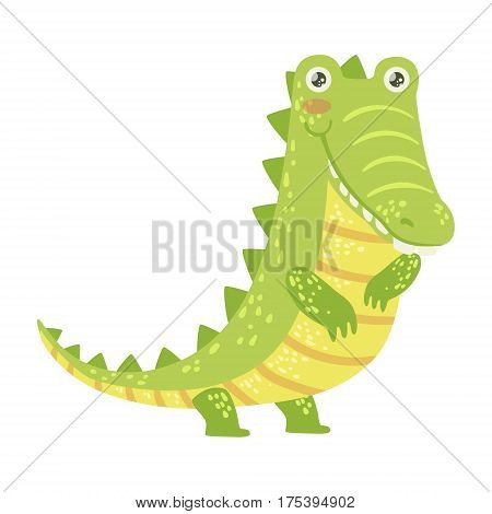 Crocodile Cute Toy Animal With Detailed Elements Part Of Fauna Collection Of Childish Vector Stickers. Adorable Girly Friendly Zoo Cartoon Character Flat Vector Illustration.