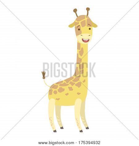 Giraffe Cute Toy Animal With Detailed Elements Part Of Fauna Collection Of Childish Vector Stickers. Adorable Girly Friendly Zoo Cartoon Character Flat Vector Illustration.