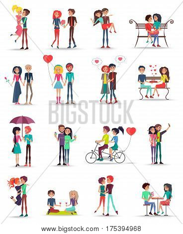 Dating of couples in love collection on white. Young people spending time together, sitting on bench, riding bike, kissing, hugging and thinking about love girls wearing flowers, balloons vector