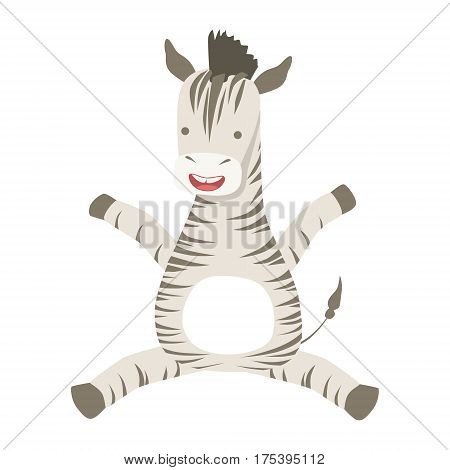 Zebra Cute Toy Animal With Detailed Elements Part Of Fauna Collection Of Childish Vector Stickers. Adorable Girly Friendly Zoo Cartoon Character Flat Vector Illustration.