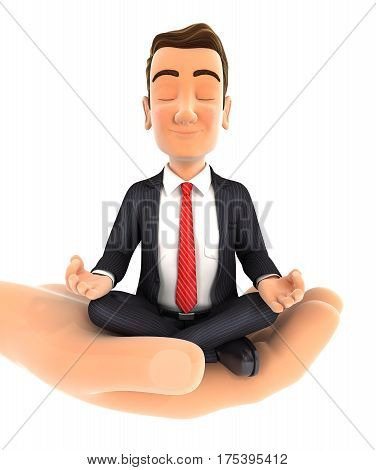 3d hand holding businessman doing yoga illustration with isolated white background