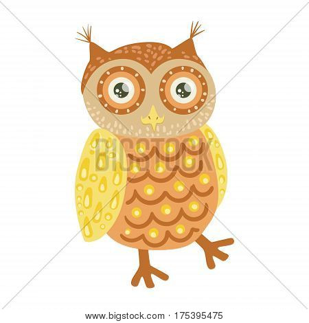 Owl Cute Toy Animal With Detailed Elements Part Of Fauna Collection Of Childish Vector Stickers. Adorable Girly Friendly Zoo Cartoon Character Flat Vector Illustration.