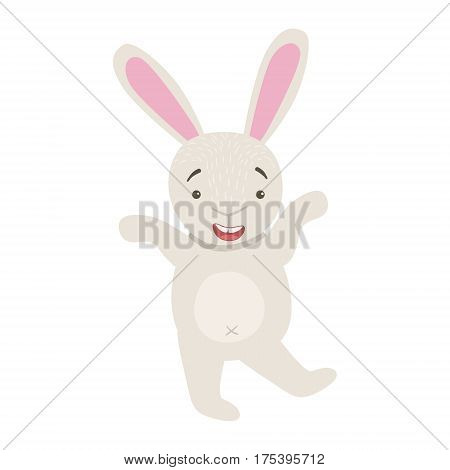 Bunny Cute Toy Animal With Detailed Elements Part Of Fauna Collection Of Childish Vector Stickers. Adorable Girly Friendly Zoo Cartoon Character Flat Vector Illustration.