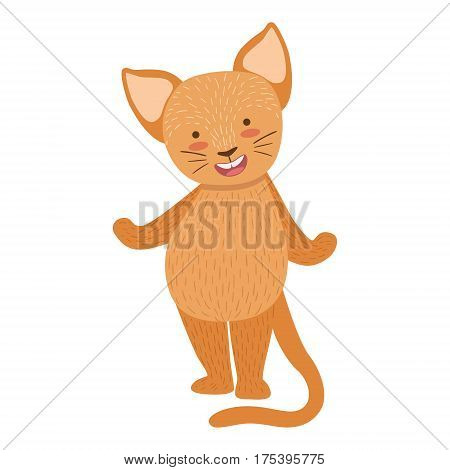 Cat Cute Toy Animal With Detailed Elements Part Of Fauna Collection Of Childish Vector Stickers. Adorable Girly Friendly Zoo Cartoon Character Flat Vector Illustration.