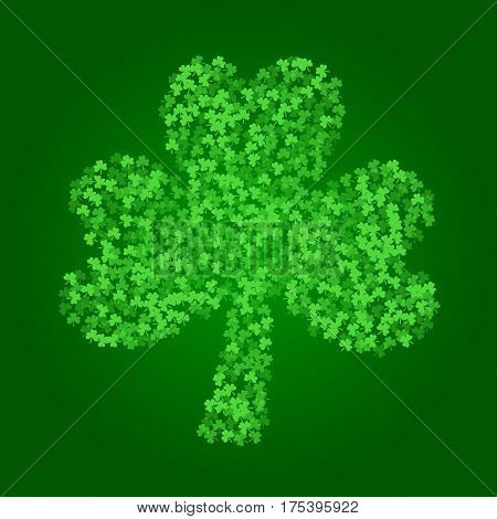 Square Saint Patricks Day background with green clover confetti. Frame of shamrock leaves. Trefoil silhouette. Template for greeting card design, banner, flyer, party invitation.