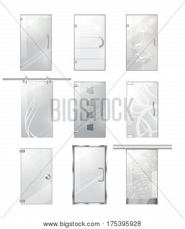 Transparent glass clear door collection on white. Vector poster of realistic doors with wavy lines, flowers, squares, doorhandles on door hinges and on long element for moving. Entrance objects