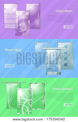 Glass door and door shops, markets colourful vector web banner. Transparent clear glass moving doors and doors with flowers, squares or waves and information near on violet, blue and green background.