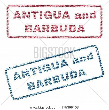 Antigua and Barbuda text textile seal stamp watermarks. Blue, red fabric vectorized texture. Vector tag inside rounded rectangular banner. Rubber sign with fiber textile structure.