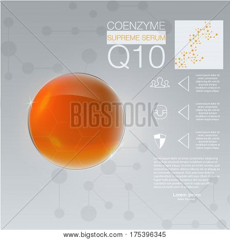 Collagen solution drop collagen design and vitamin background molecule and communication dna.