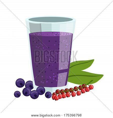 Red Currant And Blueberry Smoothie, Non-Alcoholic Fresh Cocktail In A Glass And The Ingredients For It Vector Illustration. Infographic Recipe Of Healthy Vegan Breakfast Drink With Fresh Juices.