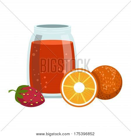 Orange And Strawberry Smoothie, Non-Alcoholic Fresh Cocktail In A Glass And The Ingredients For It Vector Illustration. Infographic Recipe Of Healthy Vegan Breakfast Drink With Fresh Juices.