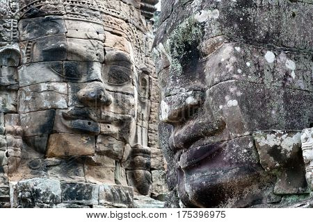 Ancient bas-relief at the Upper terrace of Prasat Bayon temple (late 12th - early 13th century) in Angkor Thom, Cambodia