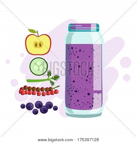 Apple, Cucumber, Red Currant And Blueberry Smoothie, Non-Alcoholic Fresh Cocktail In A Glass And The Ingredients For It Vector Illustration. Infographic Recipe Of Healthy Vegan Breakfast Drink With Fresh Juices.
