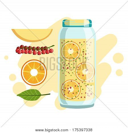 Orange Apple And Red Currant Smoothie, Non-Alcoholic Fresh Cocktail In A Glass And The Ingredients For It Vector Illustration. Infographic Recipe Of Healthy Vegan Breakfast Drink With Fresh Juices.