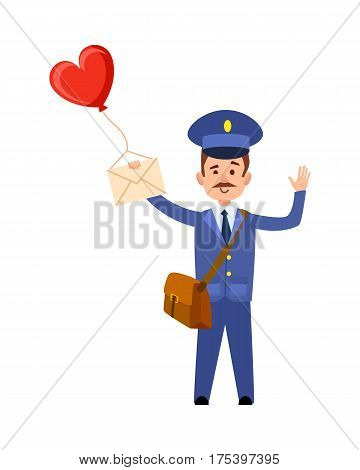 Valentine post and isolated mailman with bag, letter and heart balloon in hand on white background. Waving postman greets you. Vector illustration of Valentine s delivery in cartoon style